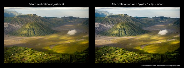 With Sypder 5 adjustment